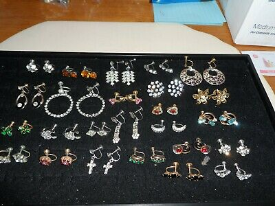 Lot of 25 Pairs of Antique & Vintage Screw On Rhinestone Earrings Some Signed