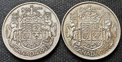 1943 and 1944 Canada Silver 50 Cent Half Dollars - 80% Silver Coins
