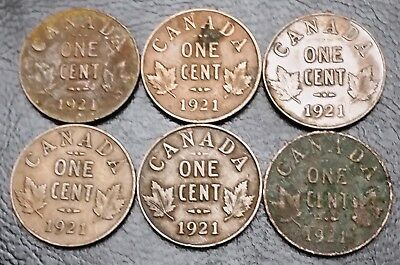 Lot of 6x Canada 1921 Small Cent Penny Coins - Great Condition