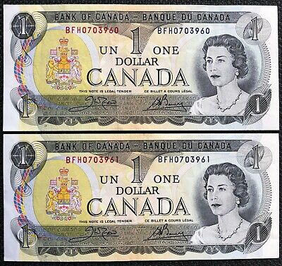 Lot of 2x 1973 Canada $1 One Dollar Bills - Consecutive Serial Numbers