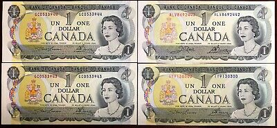 Lot of 4x 1973 Bank of Canada $1 One Dollar Bills, Crisp Uncirculated