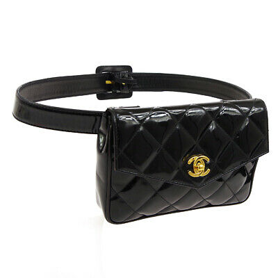 805b21aa03b0 Auth CHANEL Quilted CC Logos Waist Bum Bag Black Patent Leather Vintage  RK13954