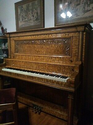 1903 Emerson upright piano completely restored. Exotic Japanese Wood case.