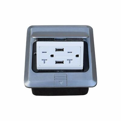 Pop Up Floor Outlet Box with 20Amp and USB Chargers Stainless Steel (silver)