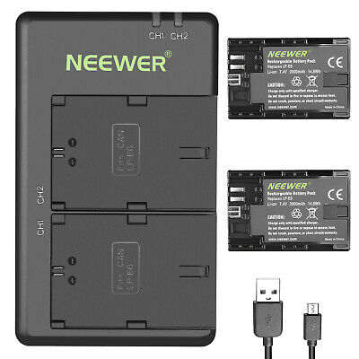 Neewer LP-E6 LP-E6N Replacement Rechargeable Battery Charging Set for Canon