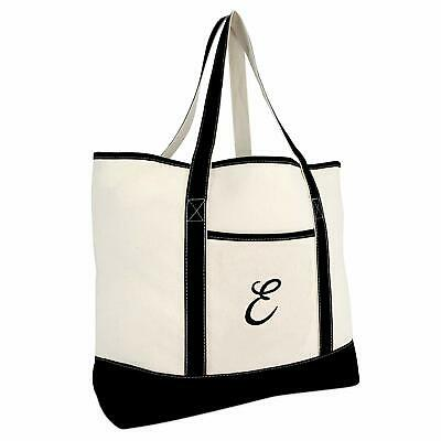 b4888cd456 Dalix Monogram Bag Personalized Totes For Women Open Top Black Letter A-Z