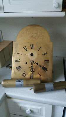 Antique 18Th C  Longcase / Grandfather Clock Brass Dial , Movement , Weights