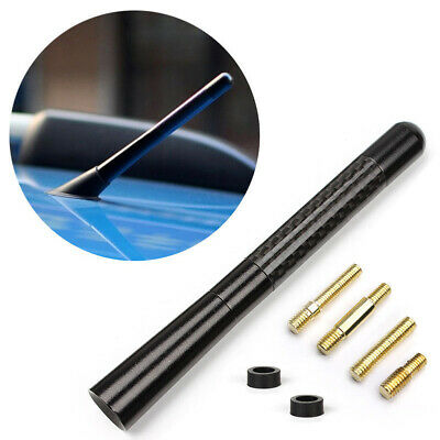 12cm 12V Universal Car Antenna Carbon Fiber Radio FM Antena Black Kit + Screw
