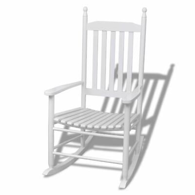 Rocking Chair with Curved Seat Wood White K5E3