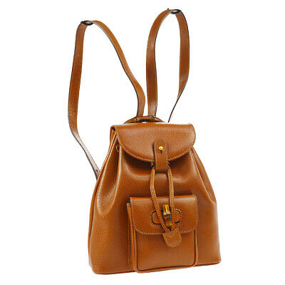0e6b77e821a5 Auth GUCCI Bamboo Line Backpack Hand Bag Brown Leather Italy Vintage RK14006