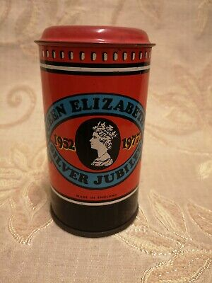 Vintage Queen Elizabeth Silver Jubilee Post Box Money Box Tin