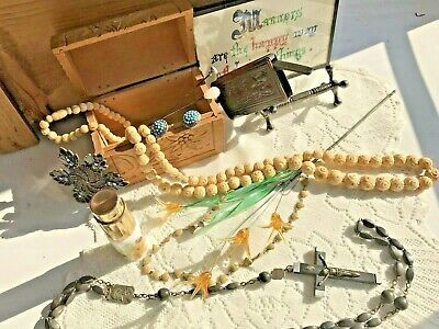 True Vintage, Jewellery And Other Items, Vesta case, rosary beads, earrings, vgc