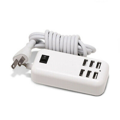 25W Multi 6-USB Ports Desktop Charger Rapid Tower Charging Station Power Adapter