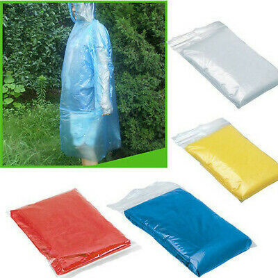 50 PCS Disposable Adult Emergency Waterproof Rain Coat Poncho Hiking Camp Hood