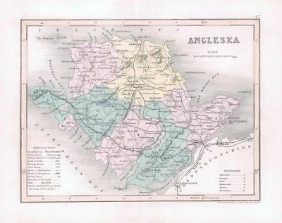 """1860 - Original antique colour map of """"ANGLESEA"""" in Wales by Joshua Archer"""