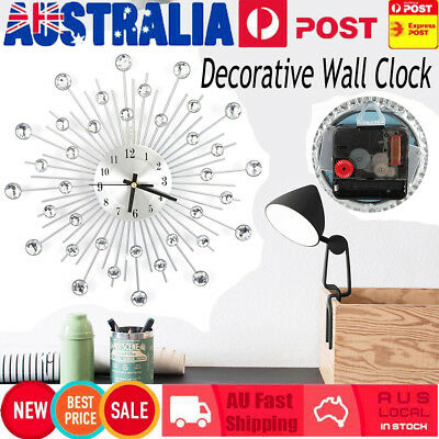 2018 New Large Modern 3D Crystal Wall Clock Luxury Art Metal Round Home Decor