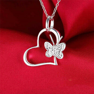 Beauty Girl 925 Silver Hollow Heart Butterfly Pendant Chain Necklace Jewelry New