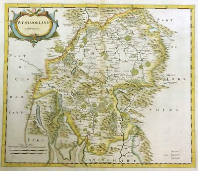 1695 Original Antique Map WESTMORLAND by Robert Morden RARE 1st Issue COLOUR