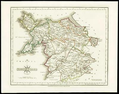 1793 Original Antique MAP of 'NORTH WALES' by John Cary Outline Colour (W/DW130)