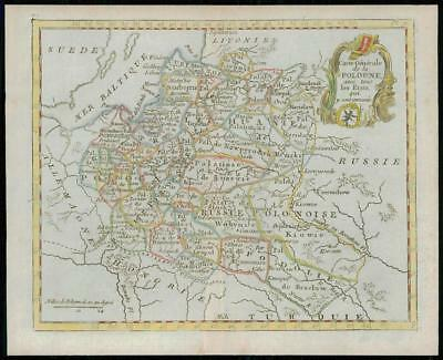 1787 - Rare Original Antique Map POLAND POLOGNE by de la Tour (5)
