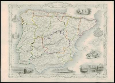 "1850 Original Illustrated Antique Map of ""SPAIN AND PORTUGAL"" by TALLIS  (194d)"
