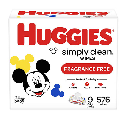 Simply Clean Fragrance-Free Baby Wipes,Soft Pack (9-Pack, 576)Alcohol-Free