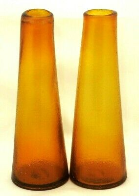 Pair of Vintage Amber Vases Hand Blown Mid Century Italian Art Glass Decor Vase