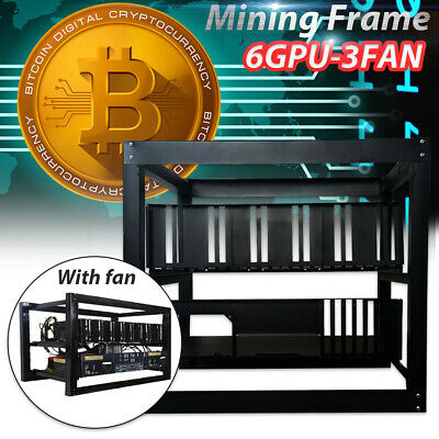 6 GPU Stackable Mining Case Aluminum Open Air Miner Frame Rig Holder With 3 Fans