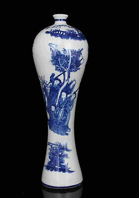 China Old Collectible Hand-Painting Blue And White Porcelain Vases Desktop Decor