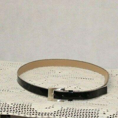 Calvin Klein Black Leather with Silver Accents 051066 Belt XL S263
