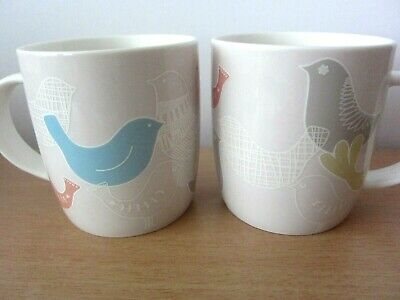 Last Pair!! Portmeirion 2 Scandi Birds Sketch Mugs - New With Labels