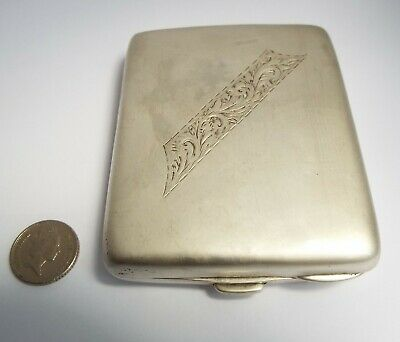 Handsome Heavy Rare Design English Antique 1919 Sterling Silver Cigarette Case