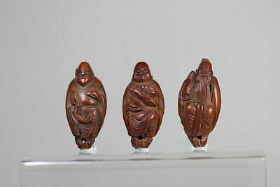 Antique Chinese 19th Century Carved Hediao Nut Bead x3 Lohan FINE