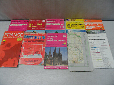 Collection of 10 Vintage Ordinance Survey Maps