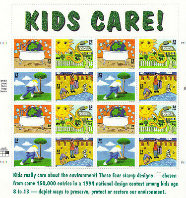 Scott #2951-54     Us Souvenir  Sheet   Kids  Care  32 Cent     Mnh