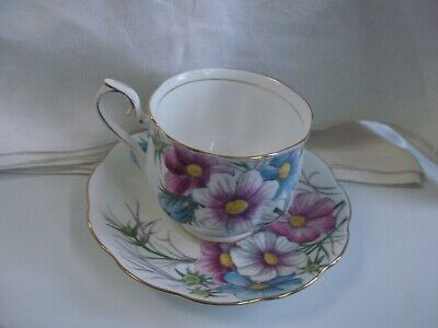 Vintage Porcelain Royal Albert Cosmos Cup & Saucer - Flower of the Month Series