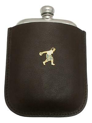 Bowls Lady Enamel Pewter 4oz Hip Flask Leather Pouch FREE ENGRAVING 041