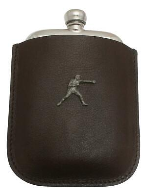 Boxer Pewter 4oz Hip Flask Leather Pouch FREE ENGRAVING 43