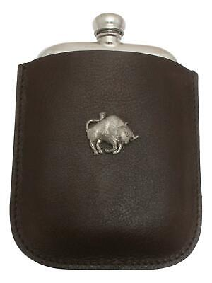 Bull Pewter 4oz Hip Flask Leather Pouch FREE ENGRAVING 46
