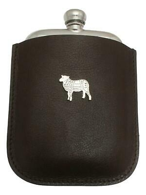 Butcher Sheep Pewter 4oz Kidney Hip Flask Leather Pouch FREE ENGRAVING 050