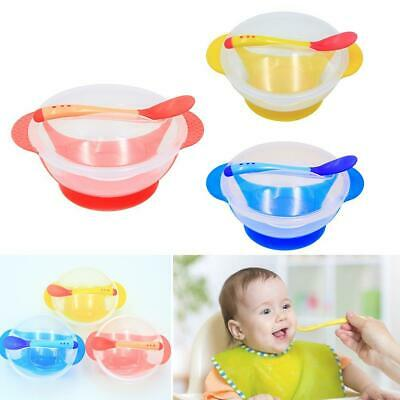 Baby Kids Suction Bowl Temperature Colour Changing Spoon  Feeding Tableware AE