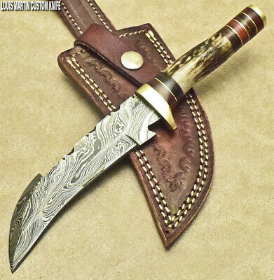 Louis Martin Rare Custom Hand Made Damascus Art Hunting Bowie Knife Stag Antler