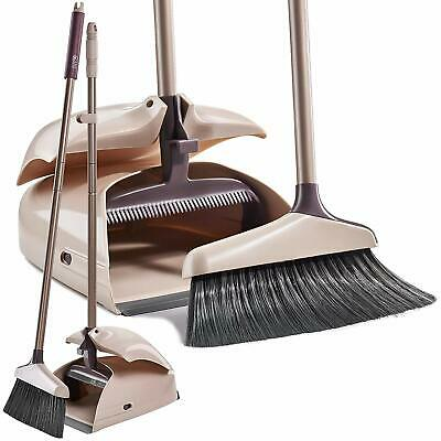 Broom And Dustpan Set - Large Upright Dust Pan Set And Lobby Broom Set With Hand