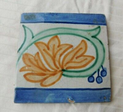 Vtg Antique Hand Painted Arts & Crafts Tile Great Graphics 5 1/2 By 5 1/2 !!