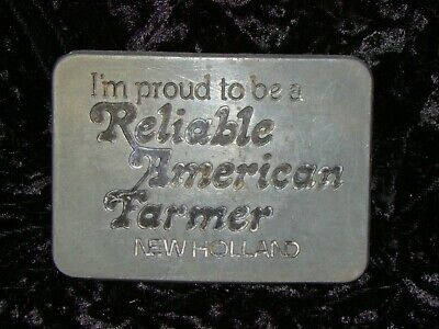 Vintage New Holland Tractor Proud Reliable American Farmer Belt Buckle 1982