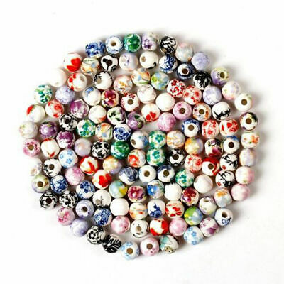 10/20Pcs Flower Bulk Wholesale 12mm Charms Round Ceramic Loose Spacer Beads