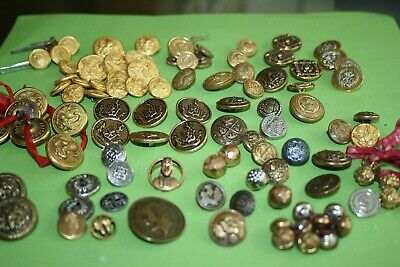 100+ Lot Antique Vintage Brass Metal Bronze Buttons. Military, Flower, Others