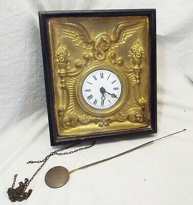 Old Antique Shadow Box Style DRAGON & Floral Weight Driven WALL CLOCK