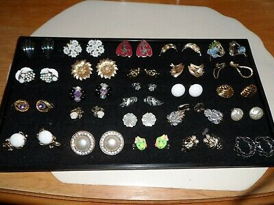 25 Pairs of Antique & Vintage Clip On Earrings ~Plenty of Designer Signed~