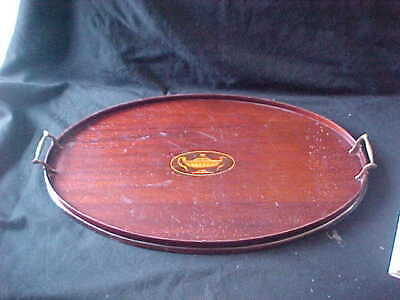 ANTIQUE FEDERAL INLAID OVAL MAHOGANY SERVING TRAY w BRASS HANDLES